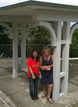 Windie Chui and I at the Umbrella Seat where sedan chair carriers rested before reaching the top.
