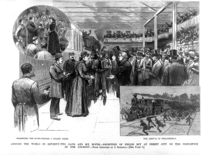 Nellie arrived to a packed Jersey City station on 25 January 1890.