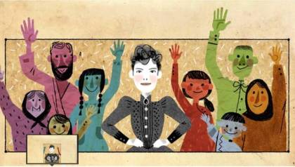 Nellie Bly 'spoke up for those told to shut up'. Animation by Katie Wu for Google.