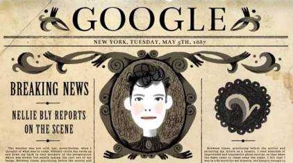 Nellie Bly's 151st birthday was celebrated with a Google doodle. Google animation by Katie Wu.