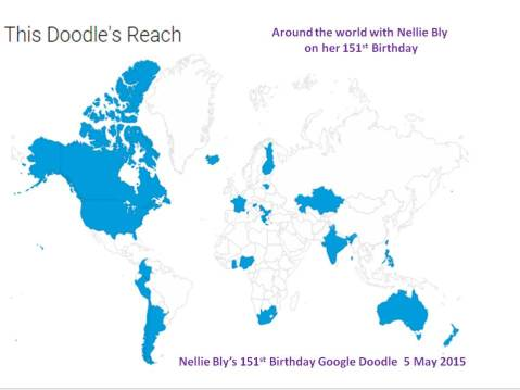 Nellie travelled around the world through cyberspace thanks to Google. Here's her route.